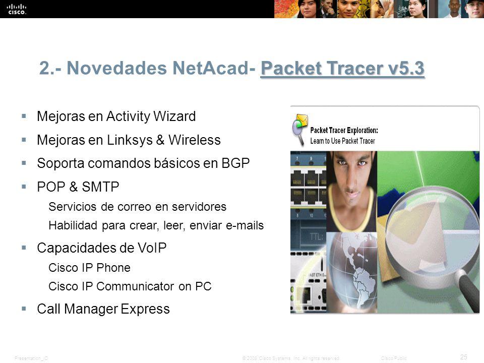Presentation_ID 25 © 2008 Cisco Systems, Inc. All rights reserved.Cisco Public Packet Tracer v5.3 2.- Novedades NetAcad- Packet Tracer v5.3 Mejoras en