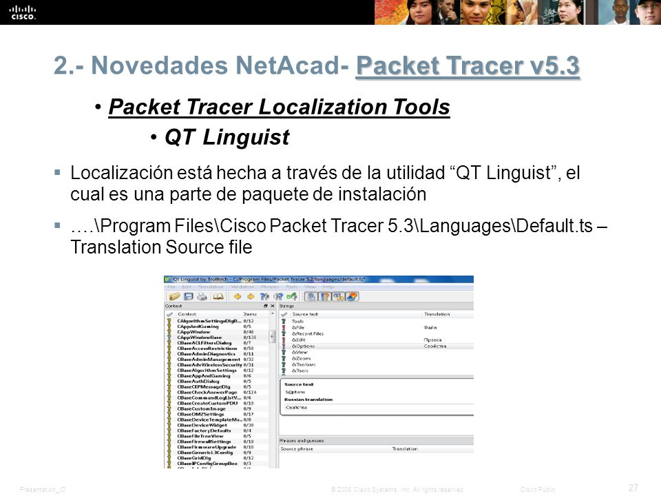 Presentation_ID 27 © 2008 Cisco Systems, Inc. All rights reserved.Cisco Public Packet Tracer v5.3 2.- Novedades NetAcad- Packet Tracer v5.3 Packet Tra