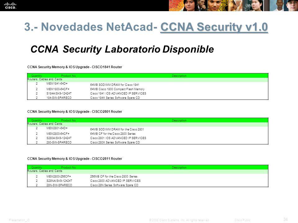 Presentation_ID 34 © 2008 Cisco Systems, Inc. All rights reserved.Cisco Public CCNA Security v1.0 3.- Novedades NetAcad- CCNA Security v1.0 CCNA Secur