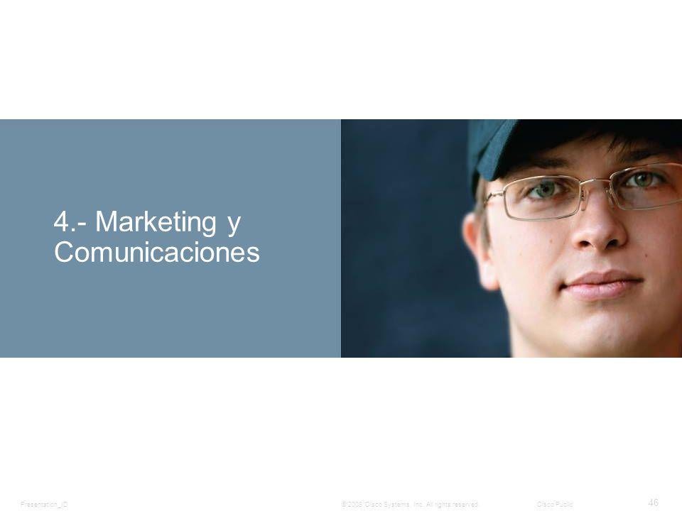 Presentation_ID 46 © 2008 Cisco Systems, Inc. All rights reserved.Cisco Public 4.- Marketing y Comunicaciones