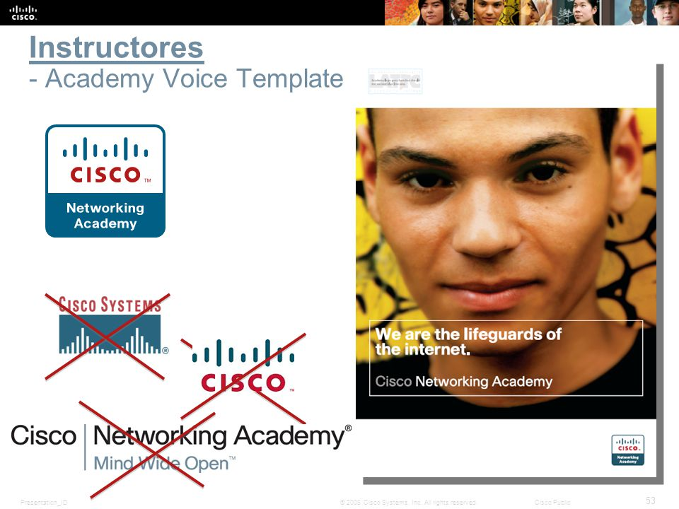 Presentation_ID 53 © 2008 Cisco Systems, Inc. All rights reserved.Cisco Public Instructores - Academy Voice Template