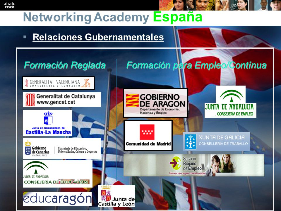 Presentation_ID 9 © 2008 Cisco Systems, Inc. All rights reserved.Cisco Public Formación Reglada Formación para Empleo/Contínua Networking Academy Espa