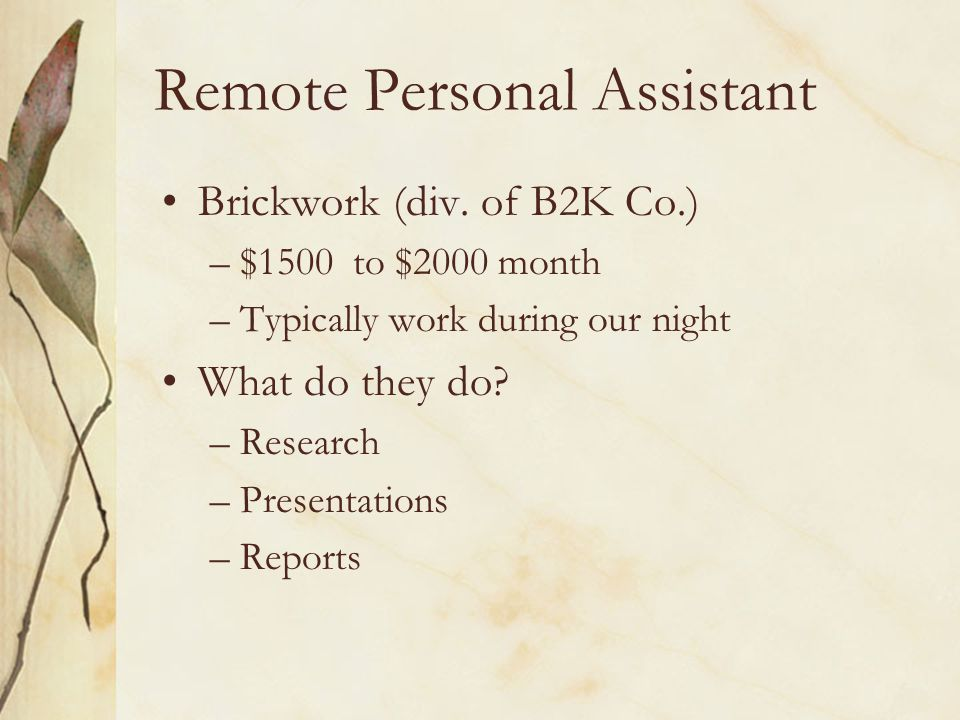 Remote Personal Assistant Brickwork (div.