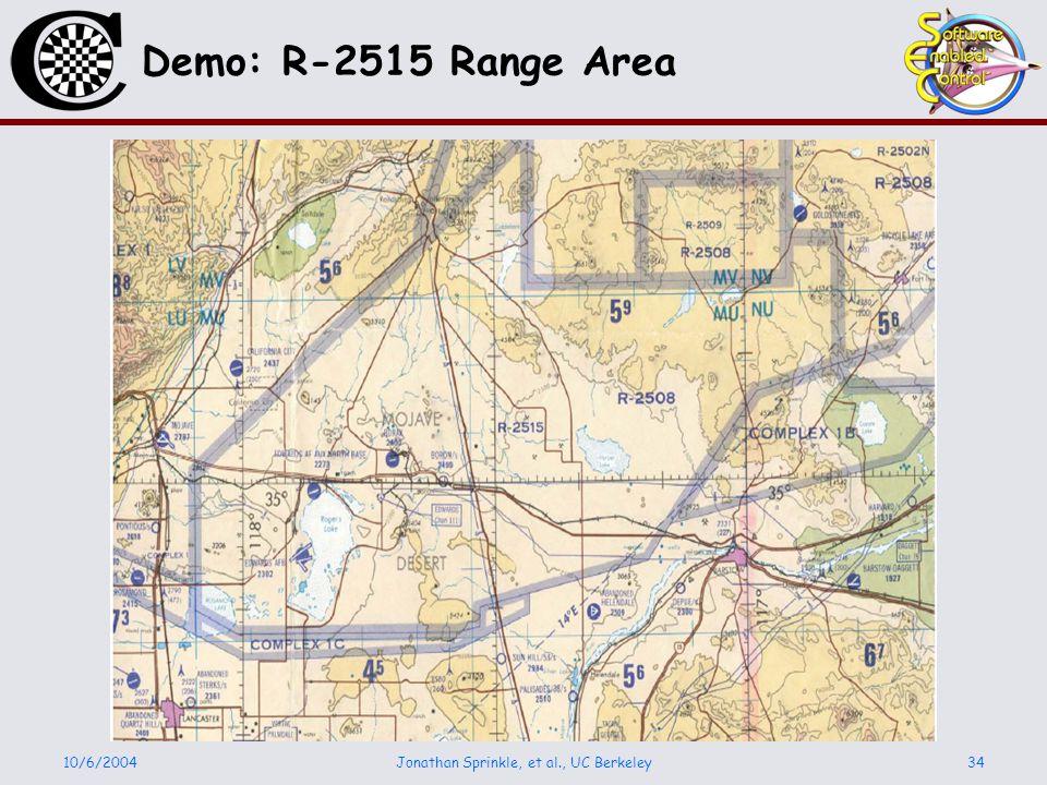 10/6/2004Jonathan Sprinkle, et al., UC Berkeley34 Demo: R-2515 Range Area