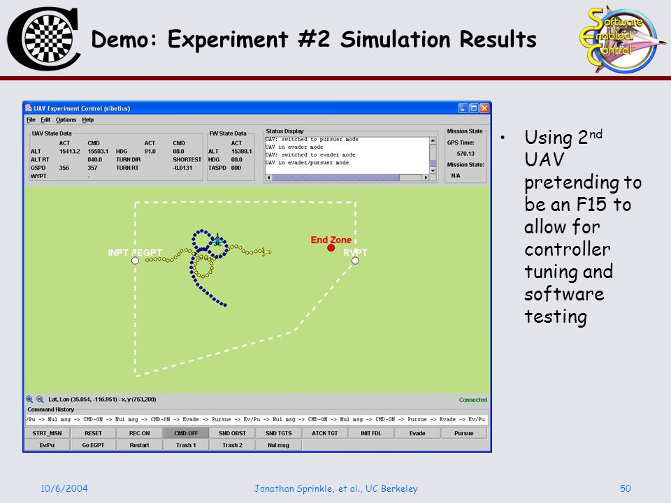 10/6/2004Jonathan Sprinkle, et al., UC Berkeley50 Demo: Experiment #2 Simulation Results Using 2 nd UAV pretending to be an F15 to allow for controller tuning and software testing