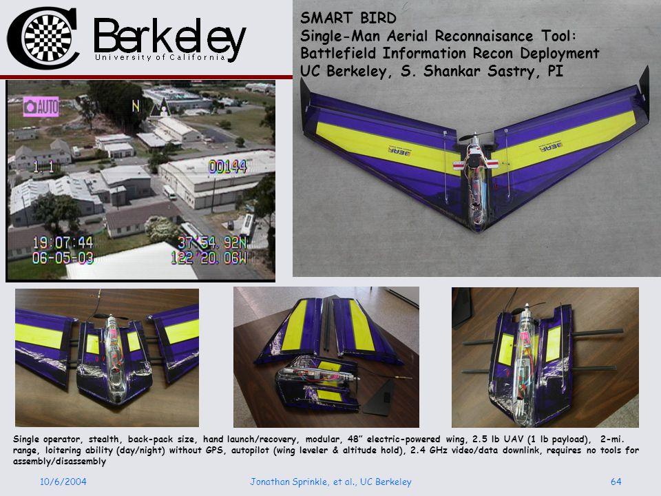 10/6/2004Jonathan Sprinkle, et al., UC Berkeley64 SMART BIRD Single-Man Aerial Reconnaisance Tool: Battlefield Information Recon Deployment UC Berkeley, S.