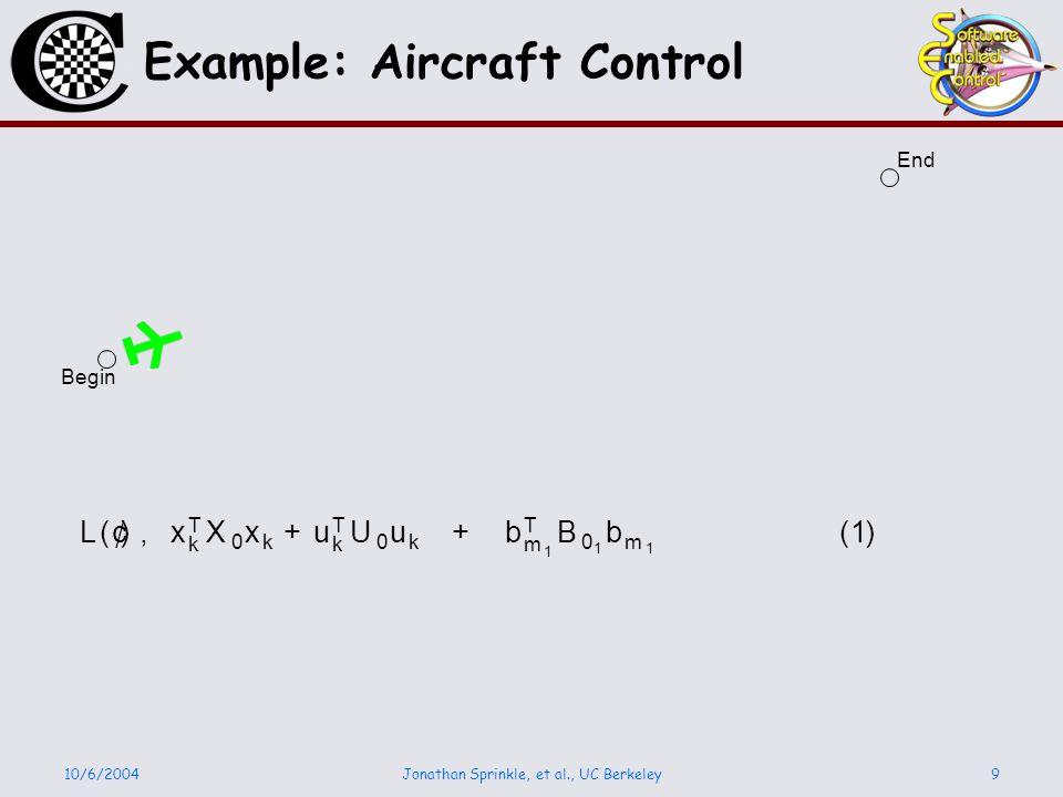 10/6/2004Jonathan Sprinkle, et al., UC Berkeley9 Example: Aircraft Control Begin End L ( ¢ ), x T k X 0 x k + u T k U 0 u k + b T m 1 B 0 1 b m 1 ( 1 )