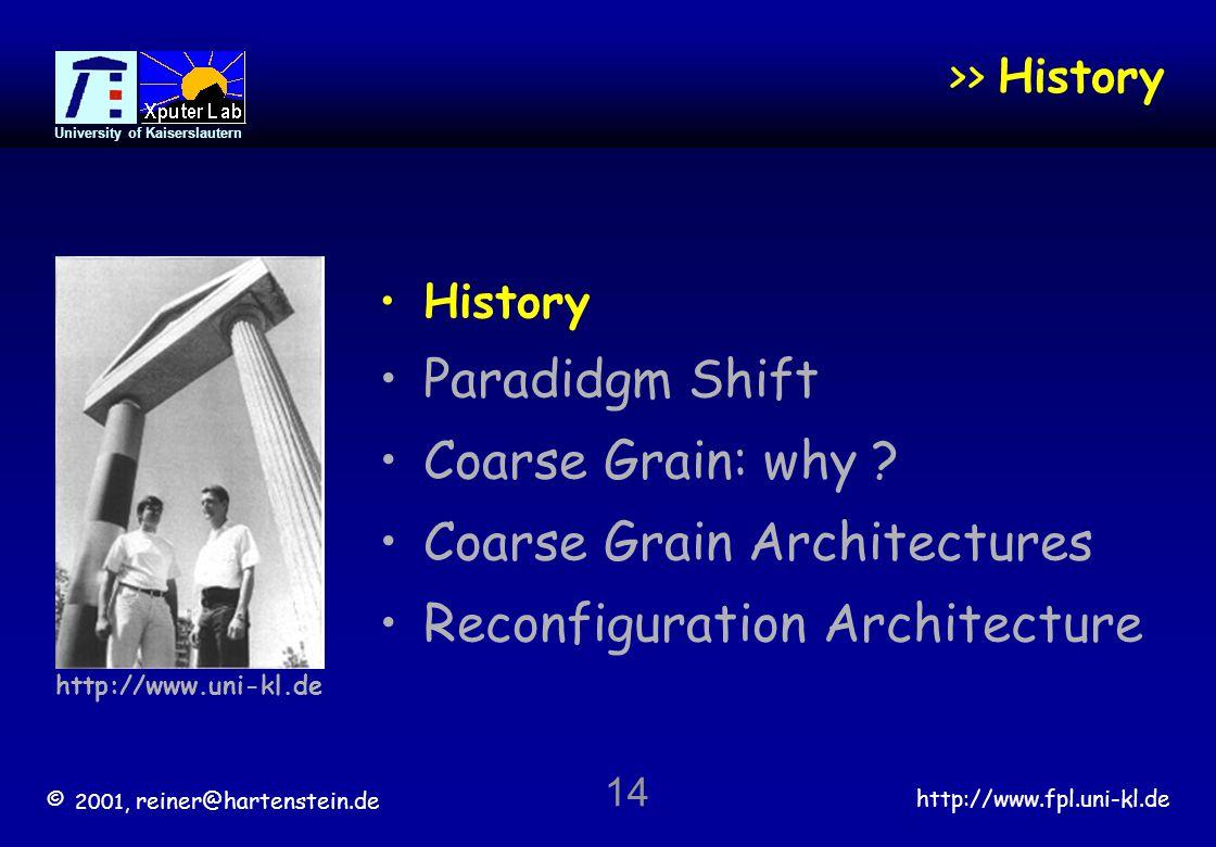© 2001, reiner@hartenstein.de http://www.fpl.uni-kl.de University of Kaiserslautern 14 >> History History Paradidgm Shift Coarse Grain: why .