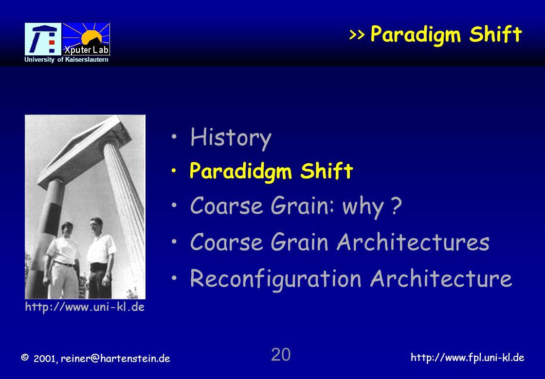 © 2001, reiner@hartenstein.de http://www.fpl.uni-kl.de University of Kaiserslautern 20 >> Paradigm Shift History Paradidgm Shift Coarse Grain: why .