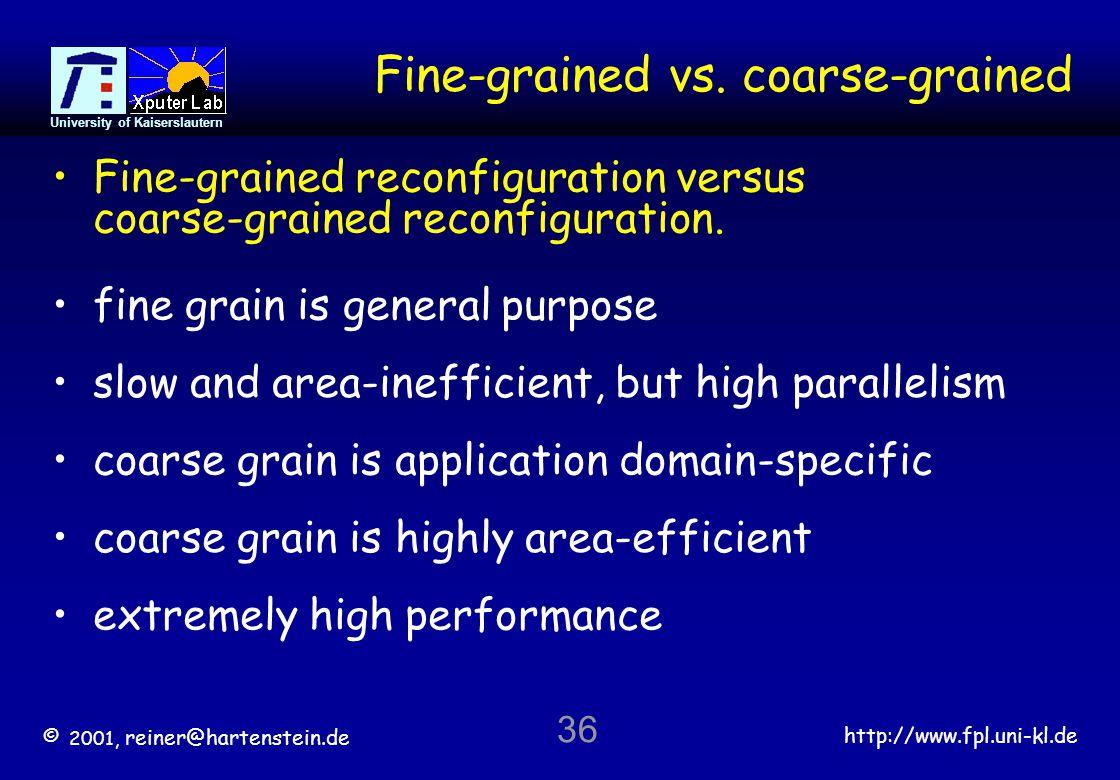© 2001, reiner@hartenstein.de http://www.fpl.uni-kl.de University of Kaiserslautern 36 Fine-grained vs.