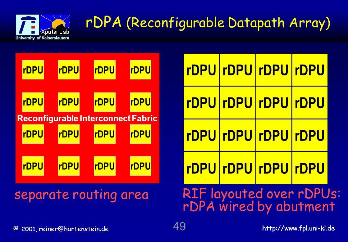 © 2001, reiner@hartenstein.de http://www.fpl.uni-kl.de University of Kaiserslautern 49 Reconfigurable Interconnect Fabric separate routing area rDPA (