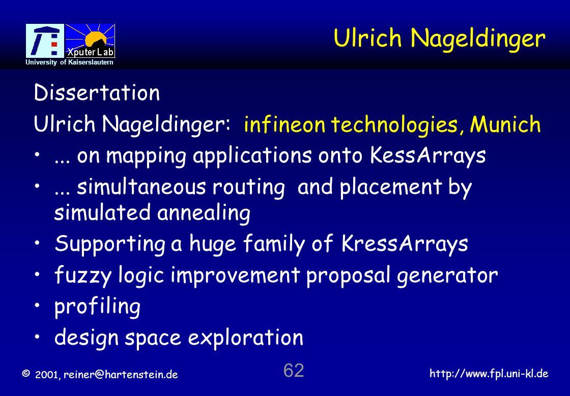 © 2001, reiner@hartenstein.de http://www.fpl.uni-kl.de University of Kaiserslautern 62 Ulrich Nageldinger Dissertation Ulrich Nageldinger:...