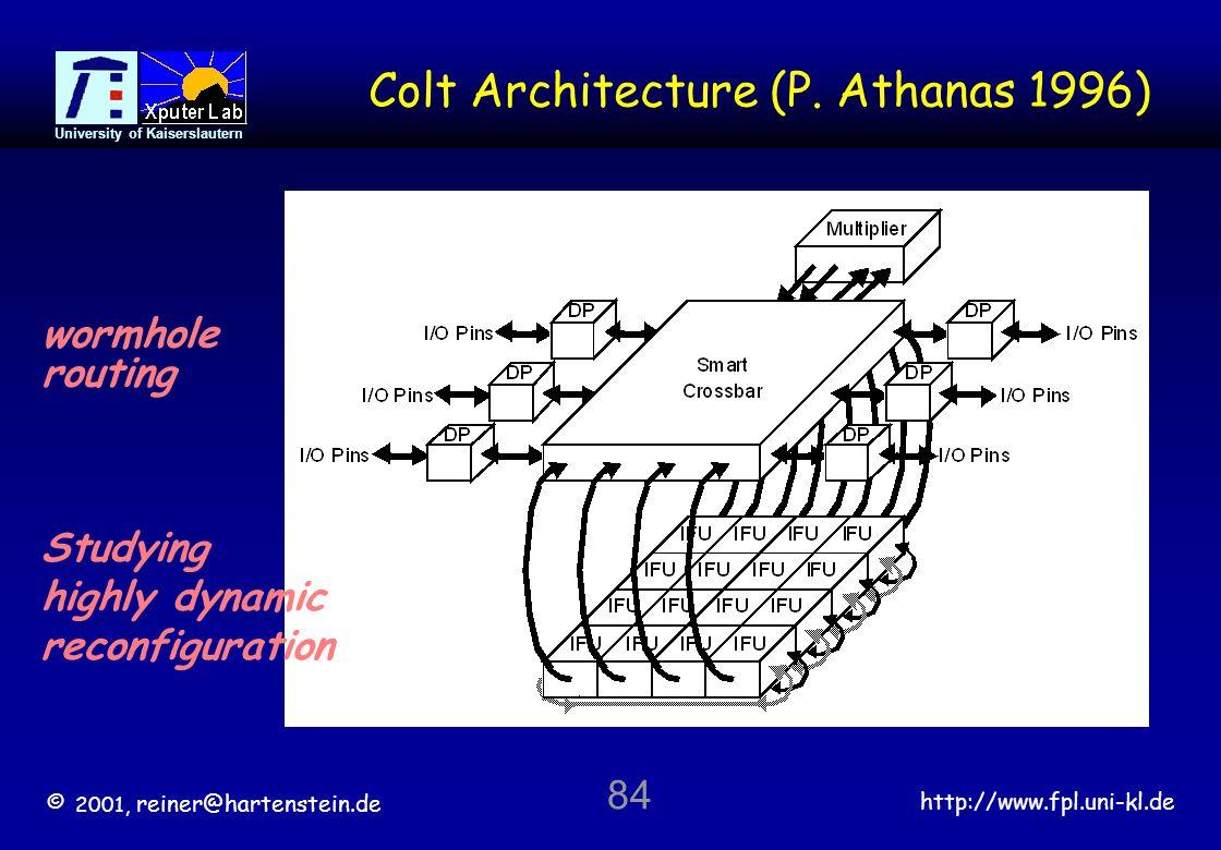 © 2001, reiner@hartenstein.de http://www.fpl.uni-kl.de University of Kaiserslautern 84 Colt Architecture (P.