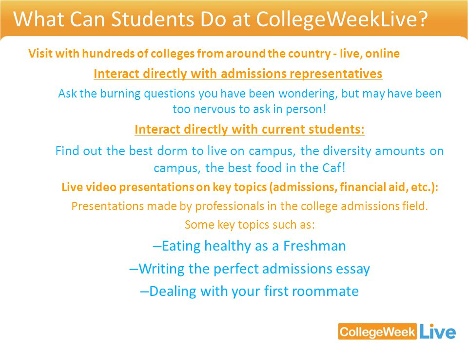 What Can Students Do at CollegeWeekLive.