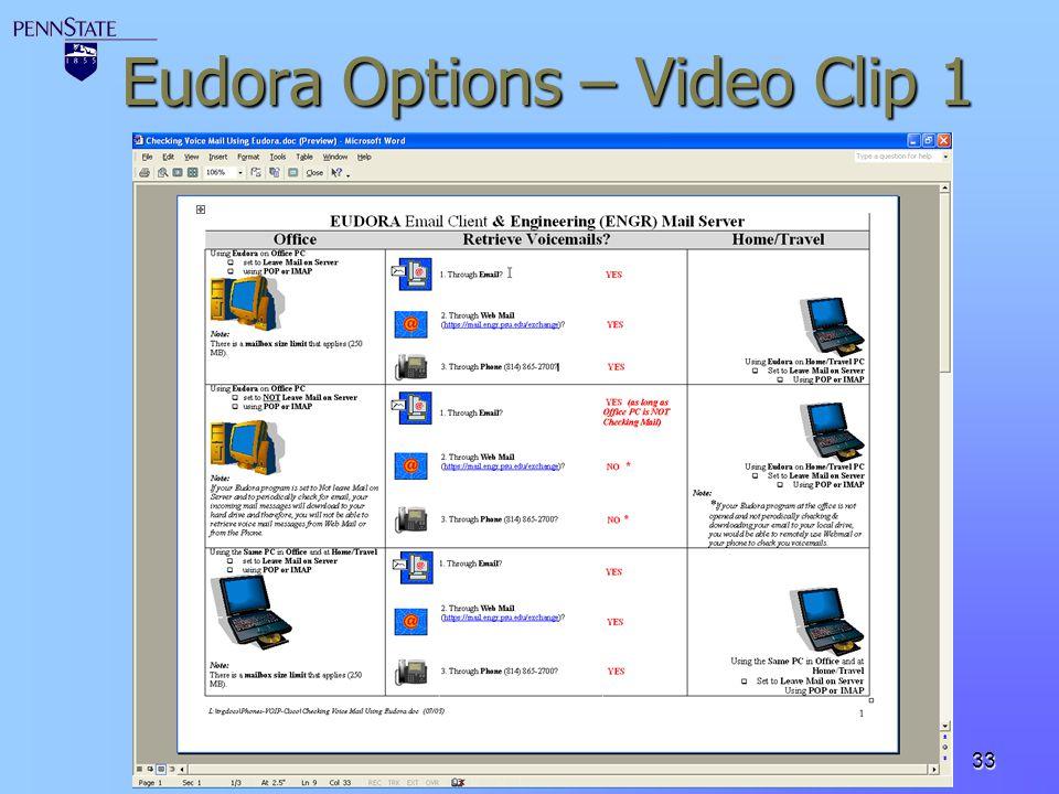 33 Eudora Options – Video Clip 1