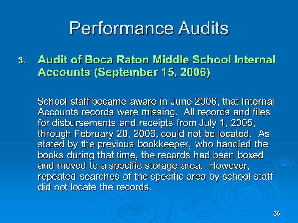 36 Performance Audits 3.