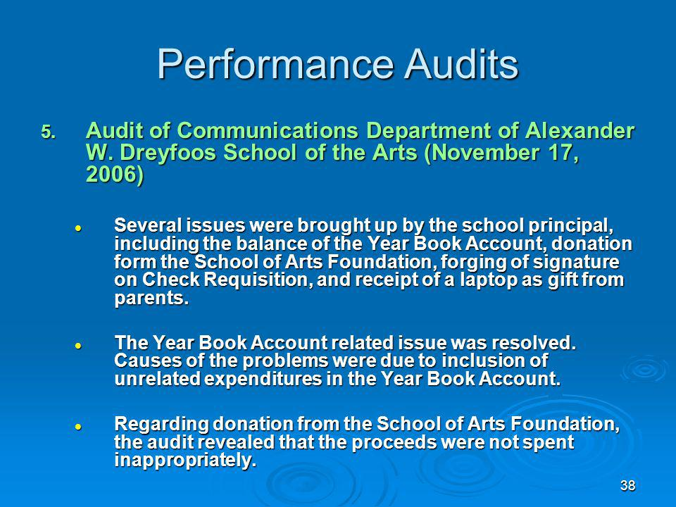 38 Performance Audits 5. Audit of Communications Department of Alexander W.