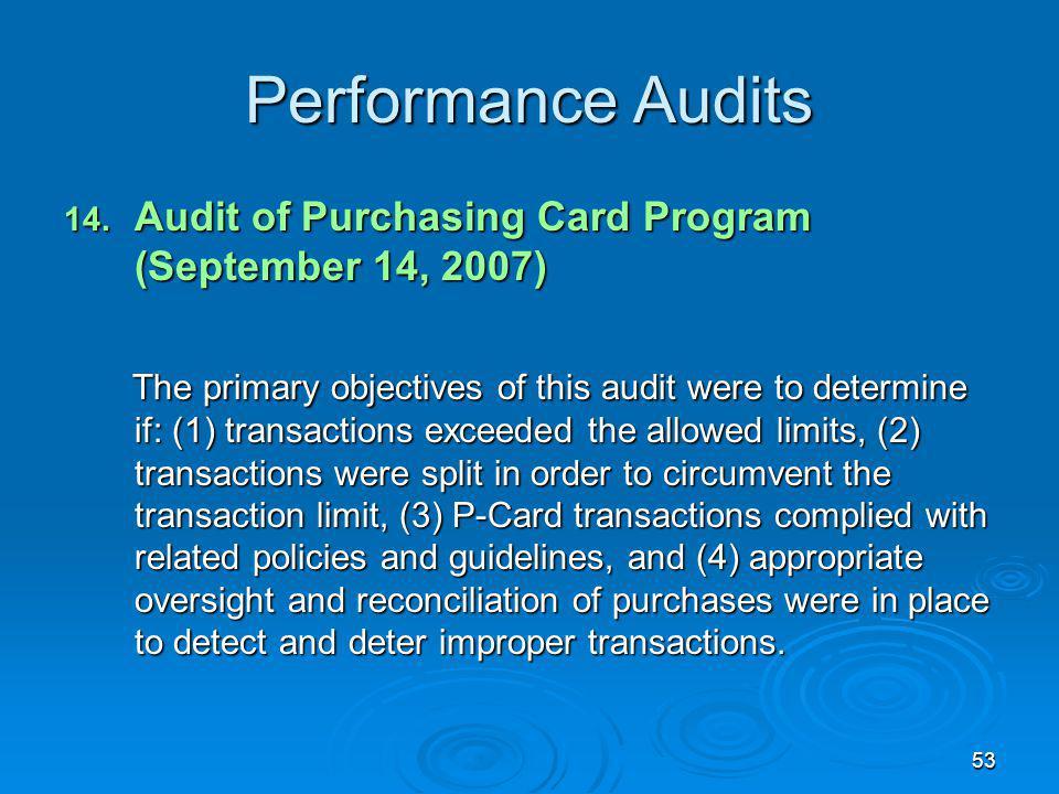 53 Performance Audits 14.