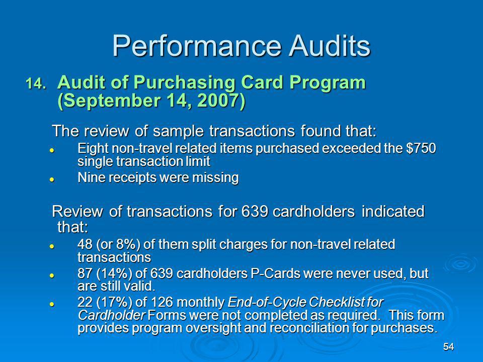 54 Performance Audits 14.