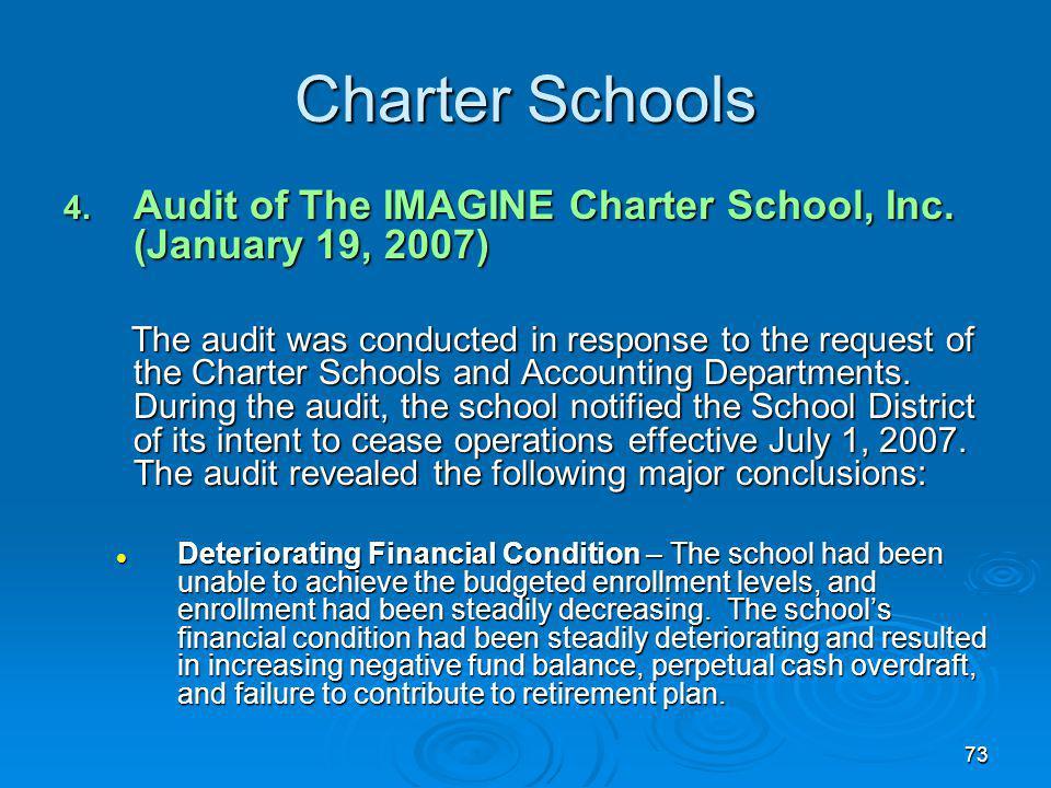 73 Charter Schools 4. Audit of The IMAGINE Charter School, Inc.