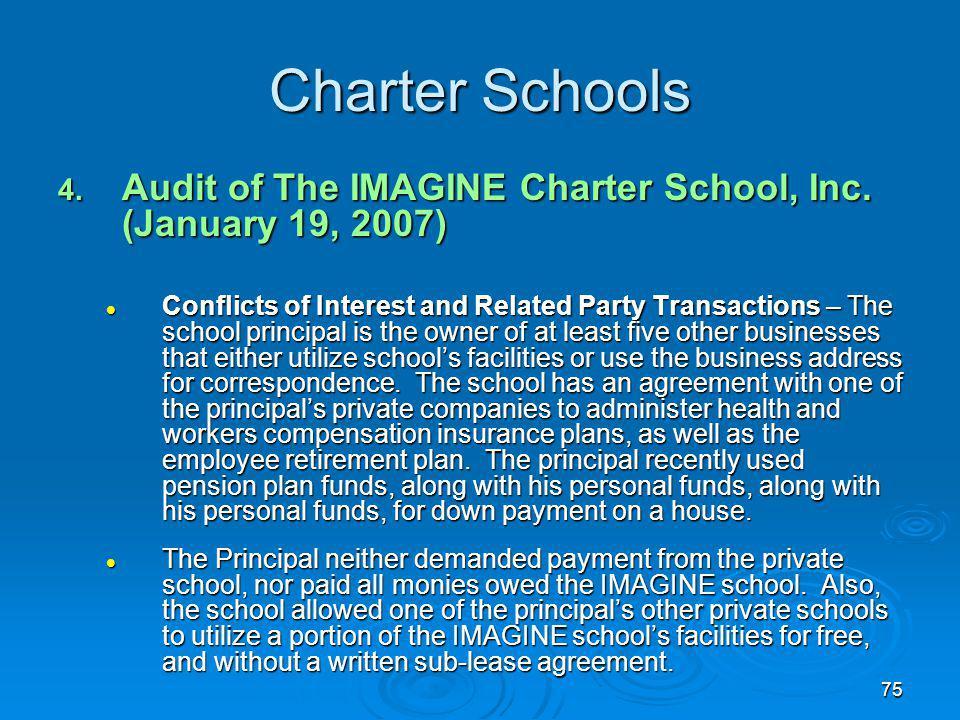 75 Charter Schools 4. Audit of The IMAGINE Charter School, Inc.