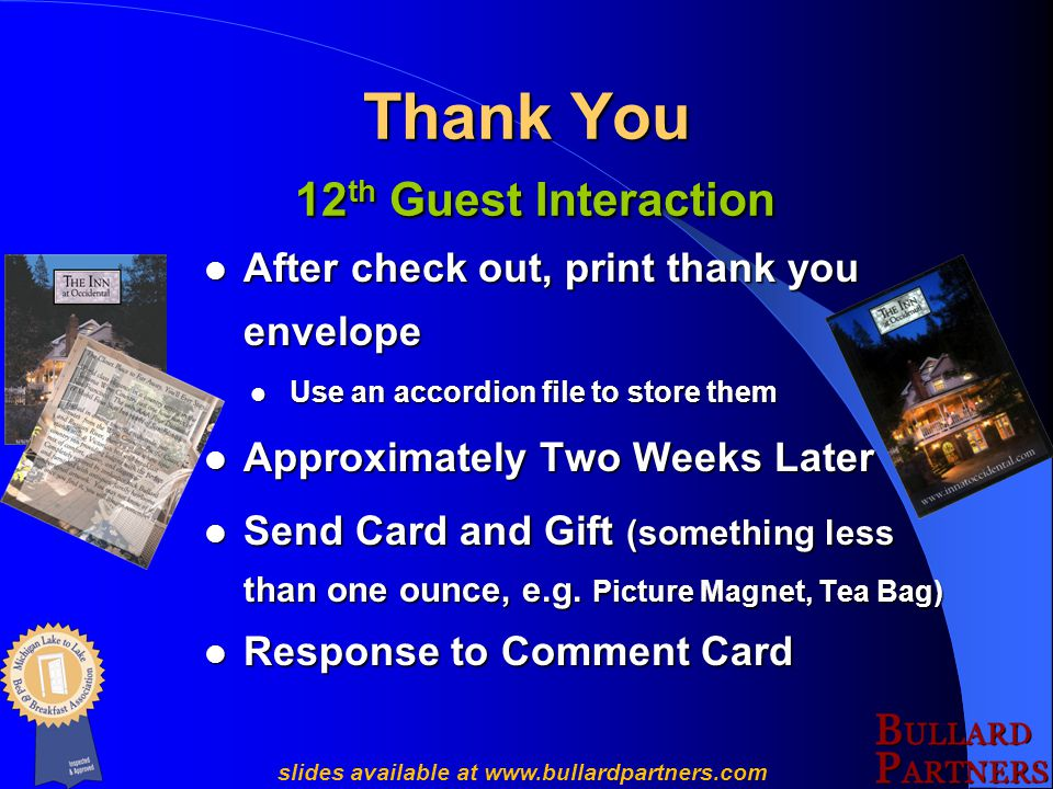 Create Reorder Cards slides available at www.bullardpartners.com