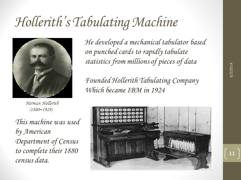 Holleriths Tabulating Machine 6/2/2014 11 Herman Hollerith (1860–1929) He developed a mechanical tabulator based on punched cards to rapidly tabulate