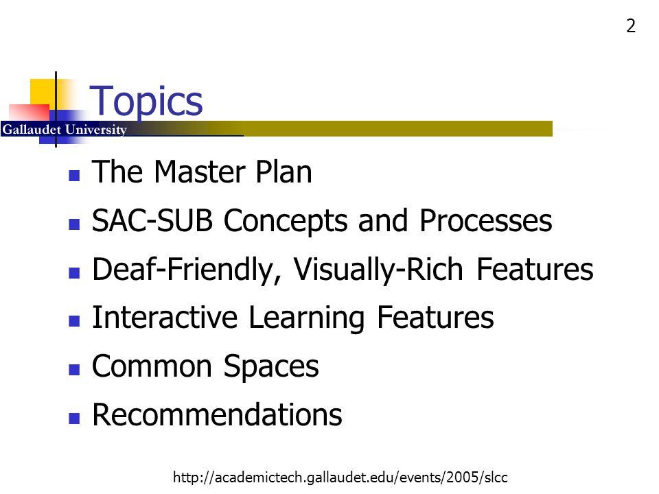 33 http://academictech.gallaudet.edu/events/2005/slcc Harkin Digital Learning Center Private Carrels Open Area Campus Help Desk 2002