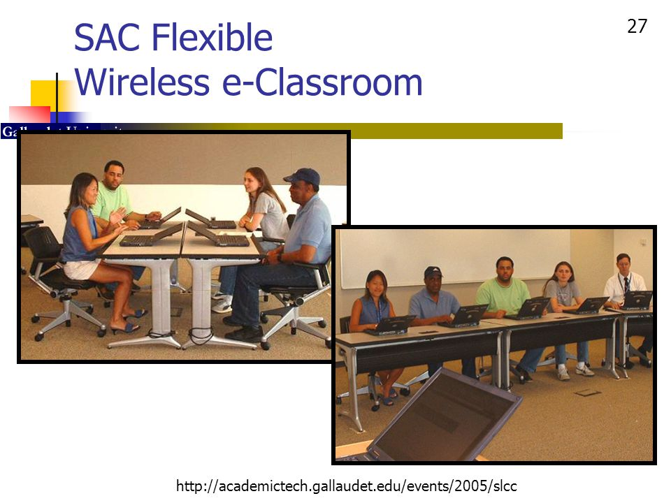 27 http://academictech.gallaudet.edu/events/2005/slcc SAC Flexible Wireless e-Classroom