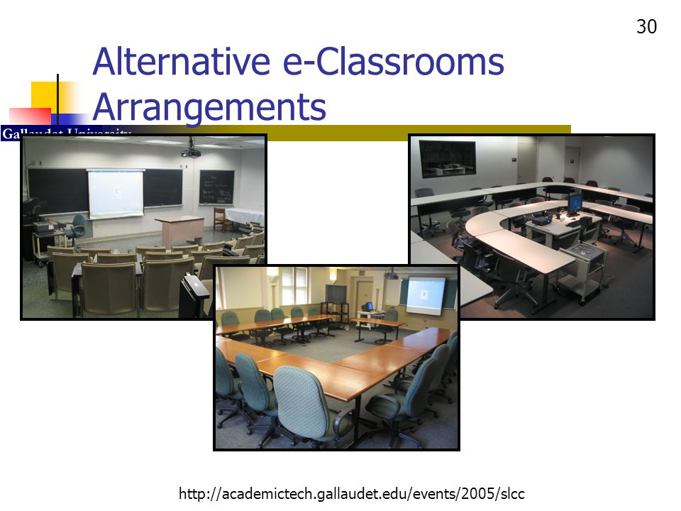 30 http://academictech.gallaudet.edu/events/2005/slcc Alternative e-Classrooms Arrangements