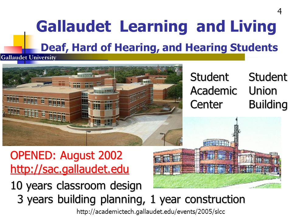 5 http://academictech.gallaudet.edu/events/2005/slcc Building Planning Vision and Implementation 1998: Planning Starts 2001: Construction Begins 2002: Building Opening Hi-Tech, Hi-Touch Smart Building, Academic and Social Heart of the Campus, Integration of Curricular and Co-Curricular Activities