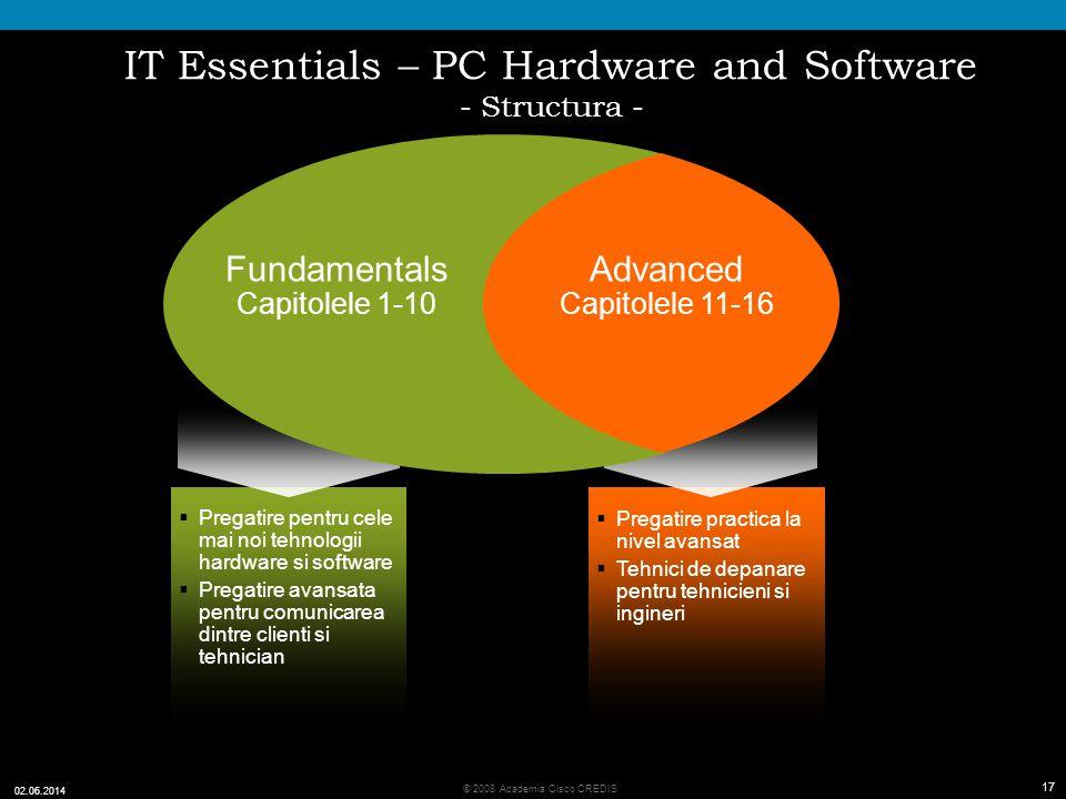 17 © 2008 Academia Cisco CREDIS 02.06.2014 17 IT Essentials – PC Hardware and Software - Structura - Pregatire practica la nivel avansat Tehnici de depanare pentru tehnicieni si ingineri Advanced Capitolele 11-16 Pregatire pentru cele mai noi tehnologii hardware si software Pregatire avansata pentru comunicarea dintre clienti si tehnician Fundamentals Capitolele 1-10