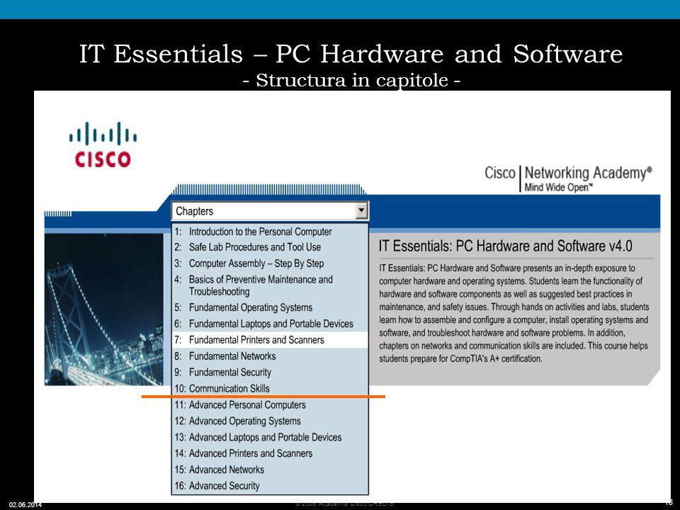 18 © 2008 Academia Cisco CREDIS 02.06.2014 18 IT Essentials – PC Hardware and Software - Structura in capitole -