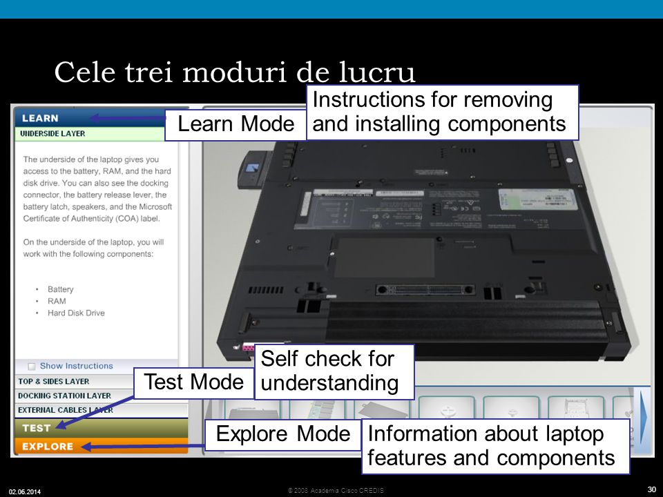 30 © 2008 Academia Cisco CREDIS 02.06.2014 30 Cele trei moduri de lucru Learn Mode Explore Mode Test Mode Instructions for removing and installing components Self check for understanding Information about laptop features and components