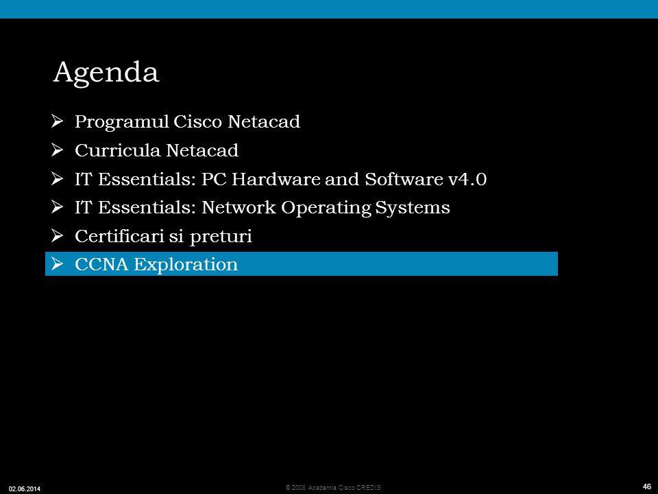 46 © 2008 Academia Cisco CREDIS 02.06.2014 46 Agenda Programul Cisco Netacad Curricula Netacad IT Essentials: PC Hardware and Software v4.0 IT Essentials: Network Operating Systems Certificari si preturi CCNA Exploration