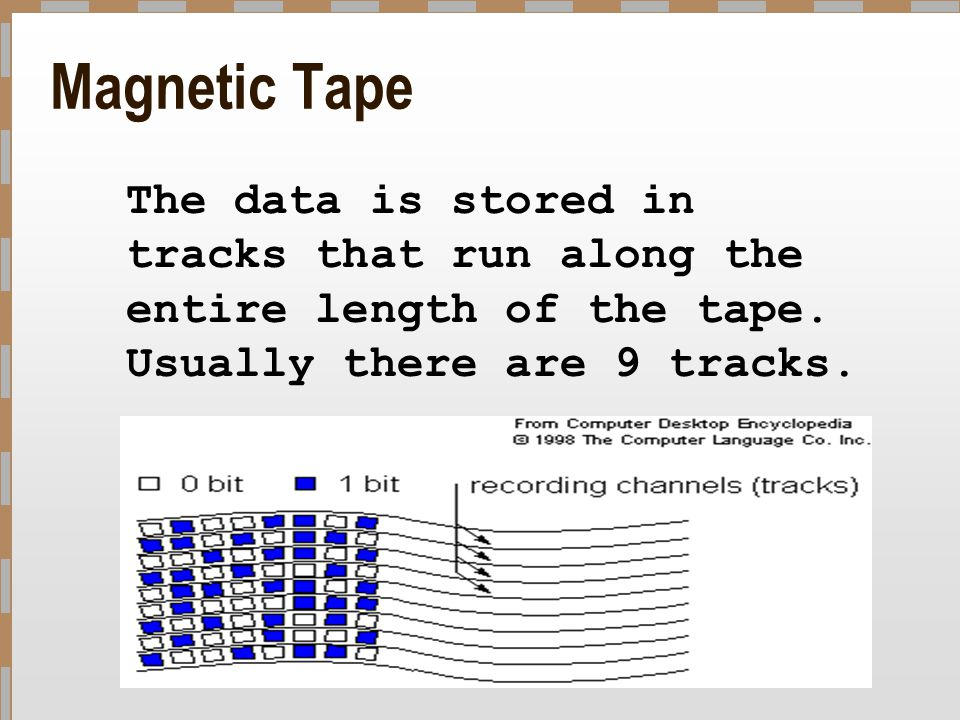 Magnetic Tape The data is stored in tracks that run along the entire length of the tape. Usually there are 9 tracks.
