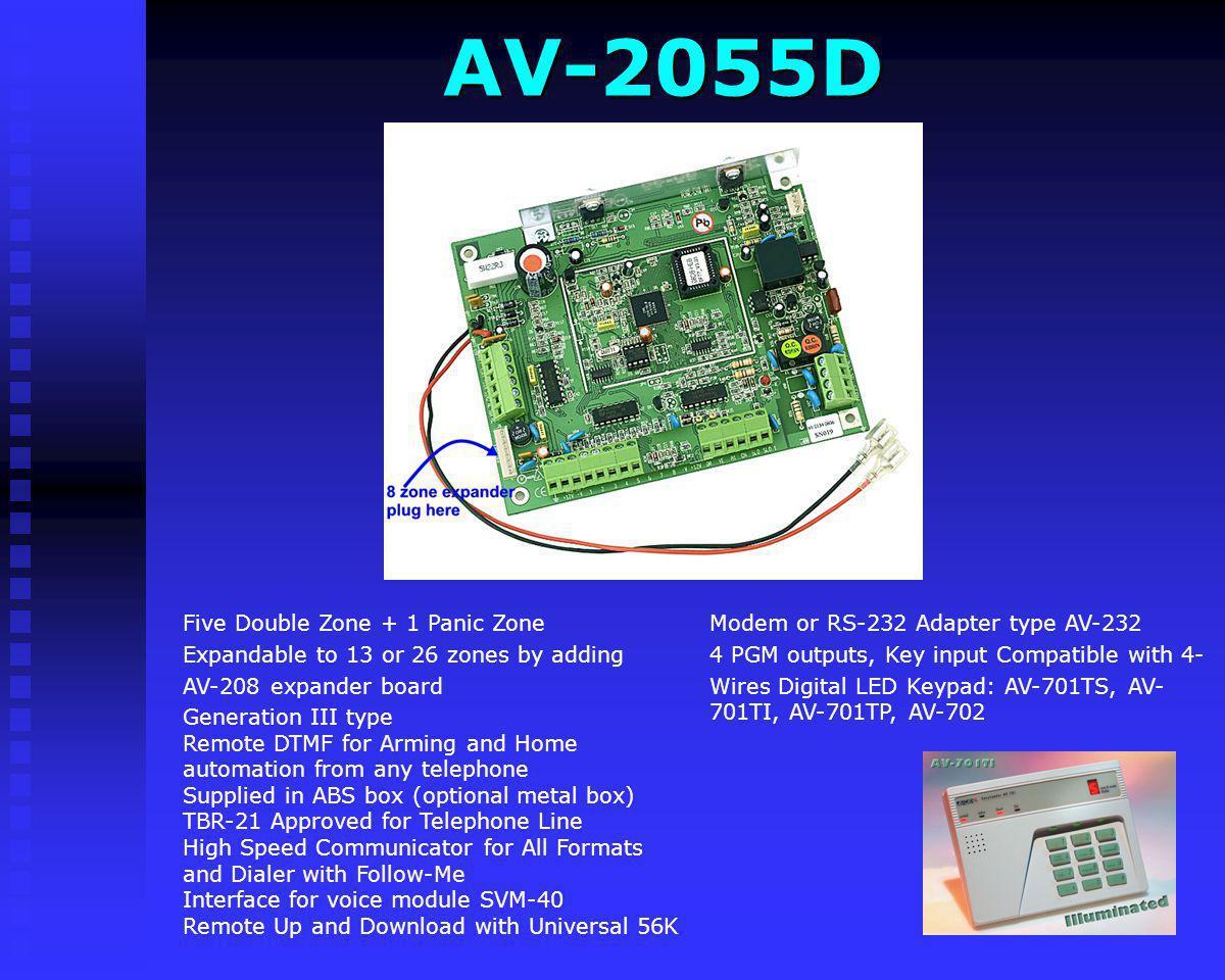 AV-2048D Compatible with 4-Wires Digital LED Keypad: AV-701TS, AV-701TI, AV-701TP, AV-702 Eight Zone (Resistors Doubling)+ 1 Panic Zone Generation III