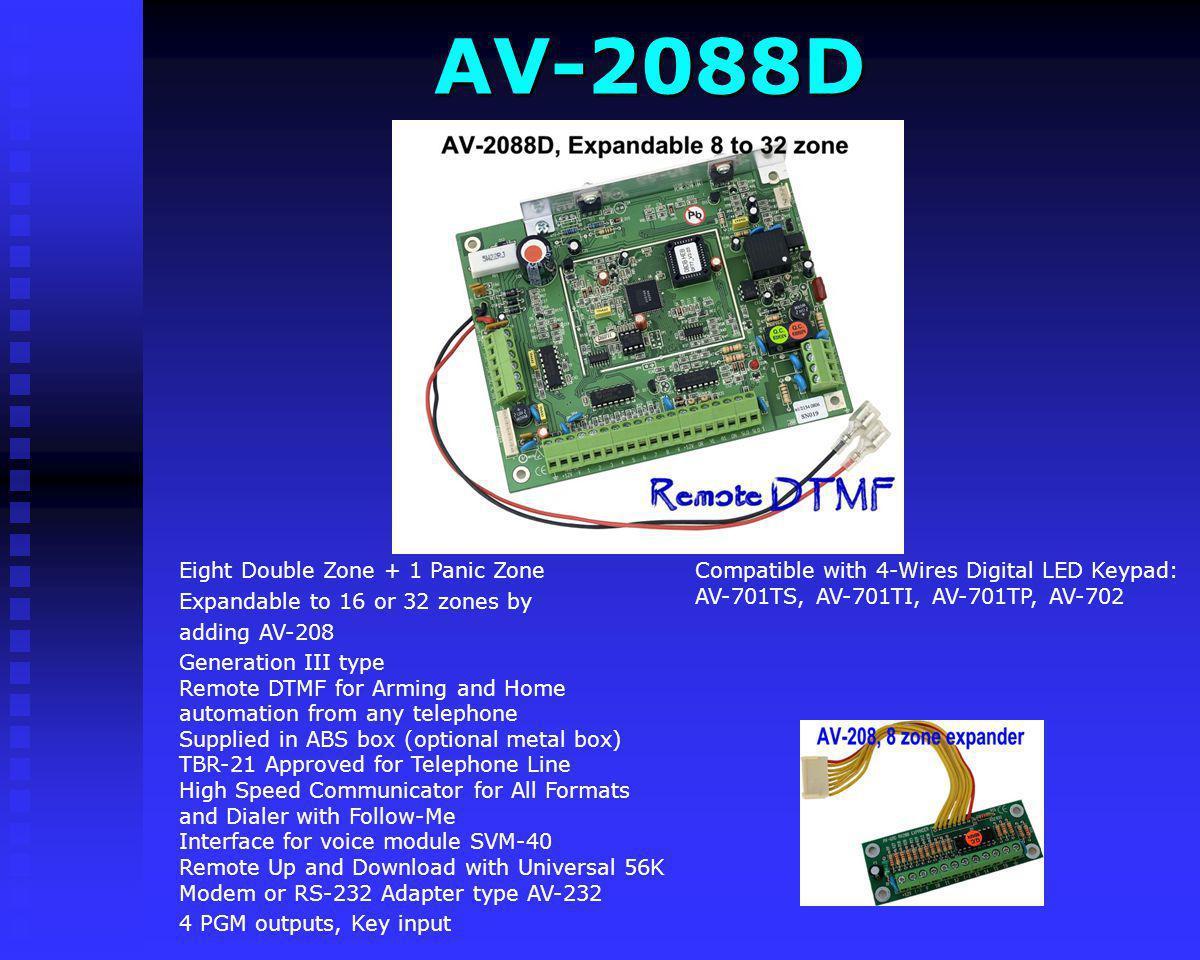 AV-2008D Compatible with 4-Wires Digital LED Keypad: AV-701TS, AV-701TI, AV-701TP, AV-702 Eight Double Zone + 1 Panic Zone Generation III type Remote