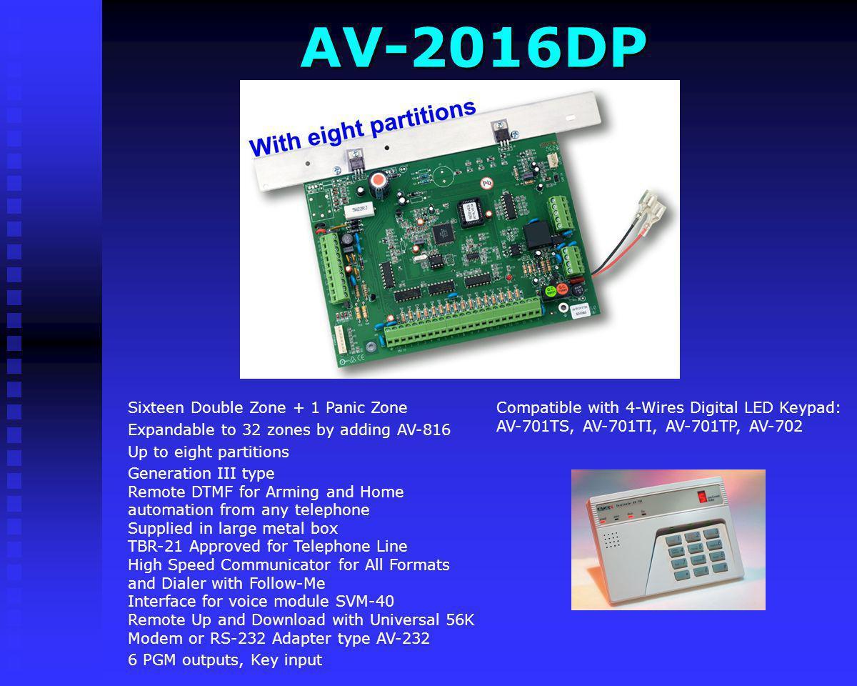 AV-2016D AV-2016D Compatible with 4-Wires Digital LED Keypad: AV-701TS, AV-701TI, AV-701TP, AV-702 Sixteen Double Zone + 1 Panic Zone Expandable to 32
