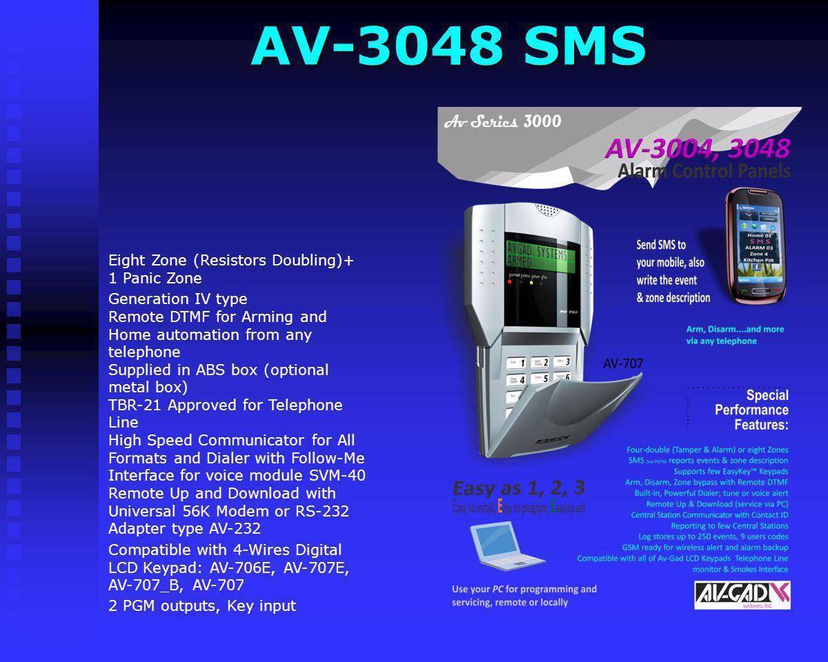 AV-2048D PRO Compatible with 4-Wires Digital LCD Keypad: AV-706E, AV-707E, AV-707_B, AV-707 Metal Eight Zone (Resistors Doubling)+ 1 Panic Zone Genera