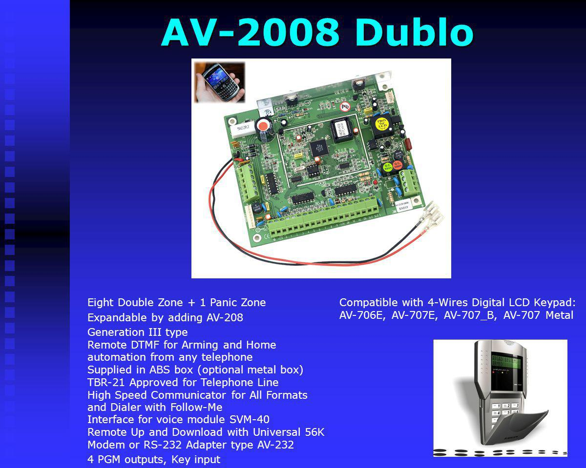 AV-3048 SMS Eight Zone (Resistors Doubling)+ 1 Panic Zone Generation IV type Remote DTMF for Arming and Home automation from any telephone Supplied in