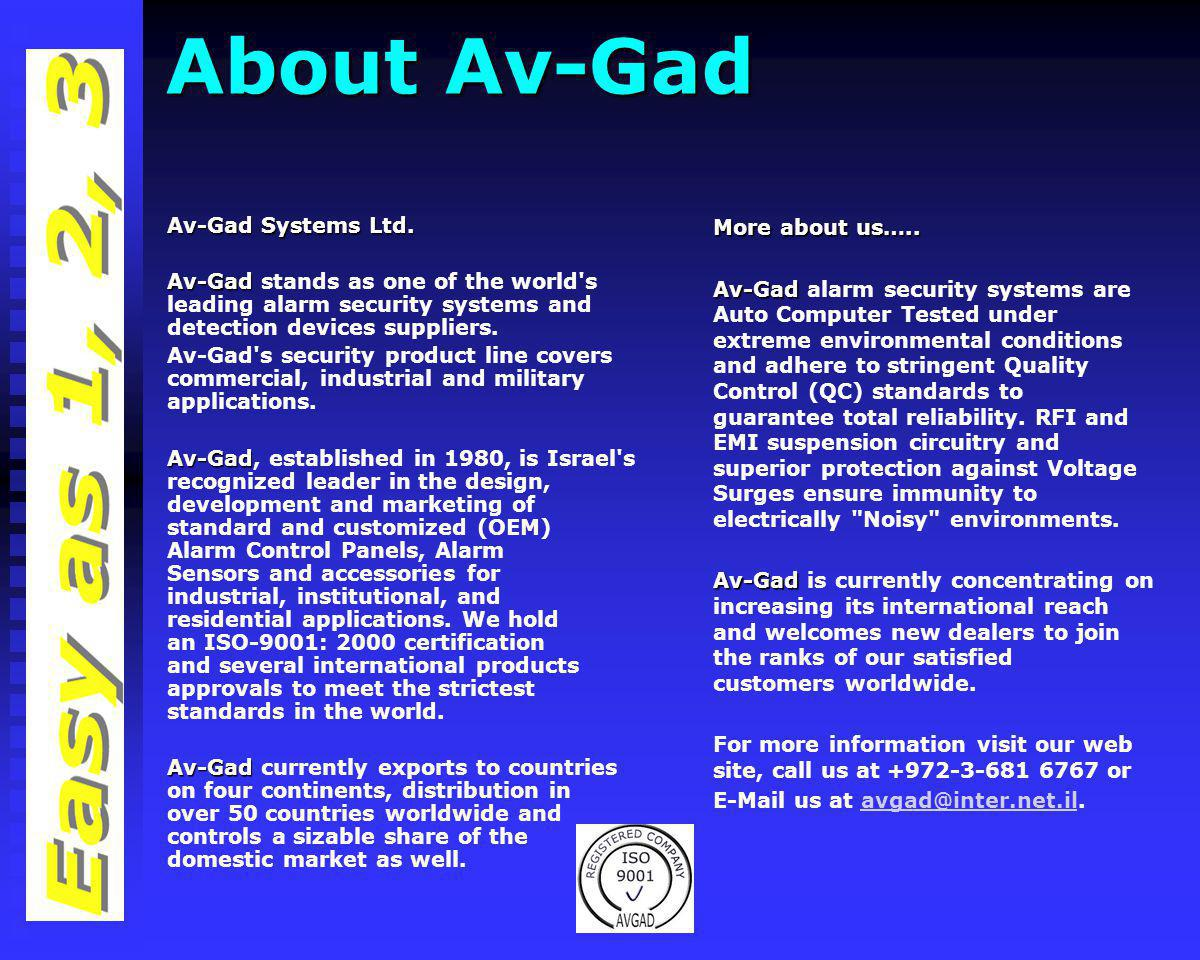 Av-Gad Systems Ltd. Products Catalog Year 2011 Part One Use arrows to move to next page