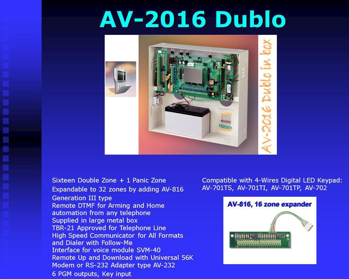 AV-2008 ELT (military) Compatible with 4-Wires Digital LCD Keypad: AV-706E, AV-707E, AV-707_B, AV-707 Metal Remote Up and Download with Universal 56K