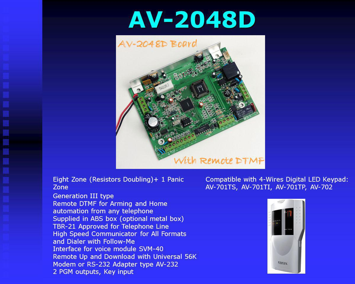 AV-2004D Interface for voice module SVM-40 Remote Up and Download with Universal 56K Modem or RS-232 Adapter type AV-232 2 PGM outputs, Key input Comp