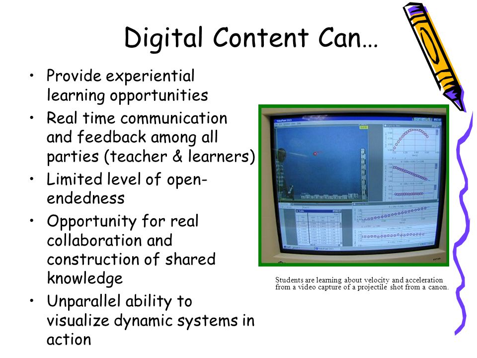 Digital Content Can… Provide experiential learning opportunities Real time communication and feedback among all parties (teacher & learners) Limited l