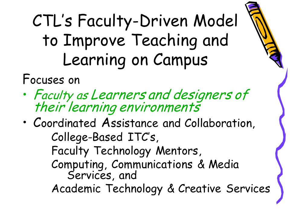 CTLs Faculty-Driven Model to Improve Teaching and Learning on Campus F ocuses on F aculty as Learners and designers of their learning environments C o