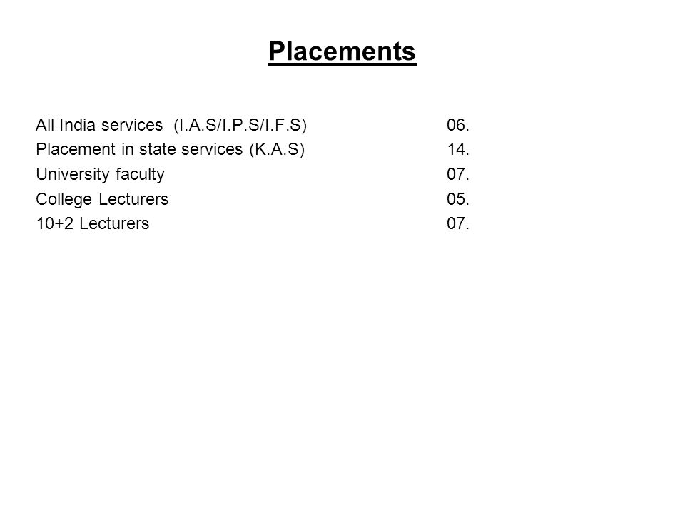Placements All India services (I.A.S/I.P.S/I.F.S) 06. Placement in state services (K.A.S)14. University faculty07. College Lecturers05. 10+2 Lecturers