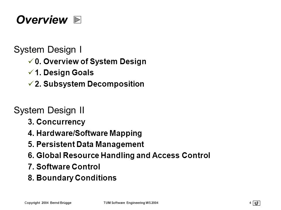 Copyright 2004 Bernd Brügge TUM Software Engineering WS 2004 4 Overview System Design I 0. Overview of System Design 1. Design Goals 2. Subsystem Deco