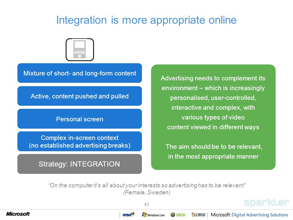 43 Integration is more appropriate online Advertising needs to complement its environment – which is increasingly personalised, user-controlled, interactive and complex, with various types of video content viewed in different ways The aim should be to be relevant, in the most appropriate manner Mixture of short- and long-form content Active, content pushed and pulled Personal screen Complex in-screen context (no established advertising breaks) Laptop Strategy: INTEGRATION On the computer its all about your interests so advertising has to be relevant (Female, Sweden)