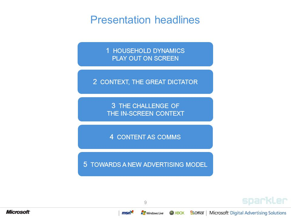 9 Presentation headlines 1 HOUSEHOLD DYNAMICS PLAY OUT ON SCREEN 3 THE CHALLENGE OF THE IN-SCREEN CONTEXT 4 CONTENT AS COMMS 5 TOWARDS A NEW ADVERTISING MODEL 2 CONTEXT, THE GREAT DICTATOR